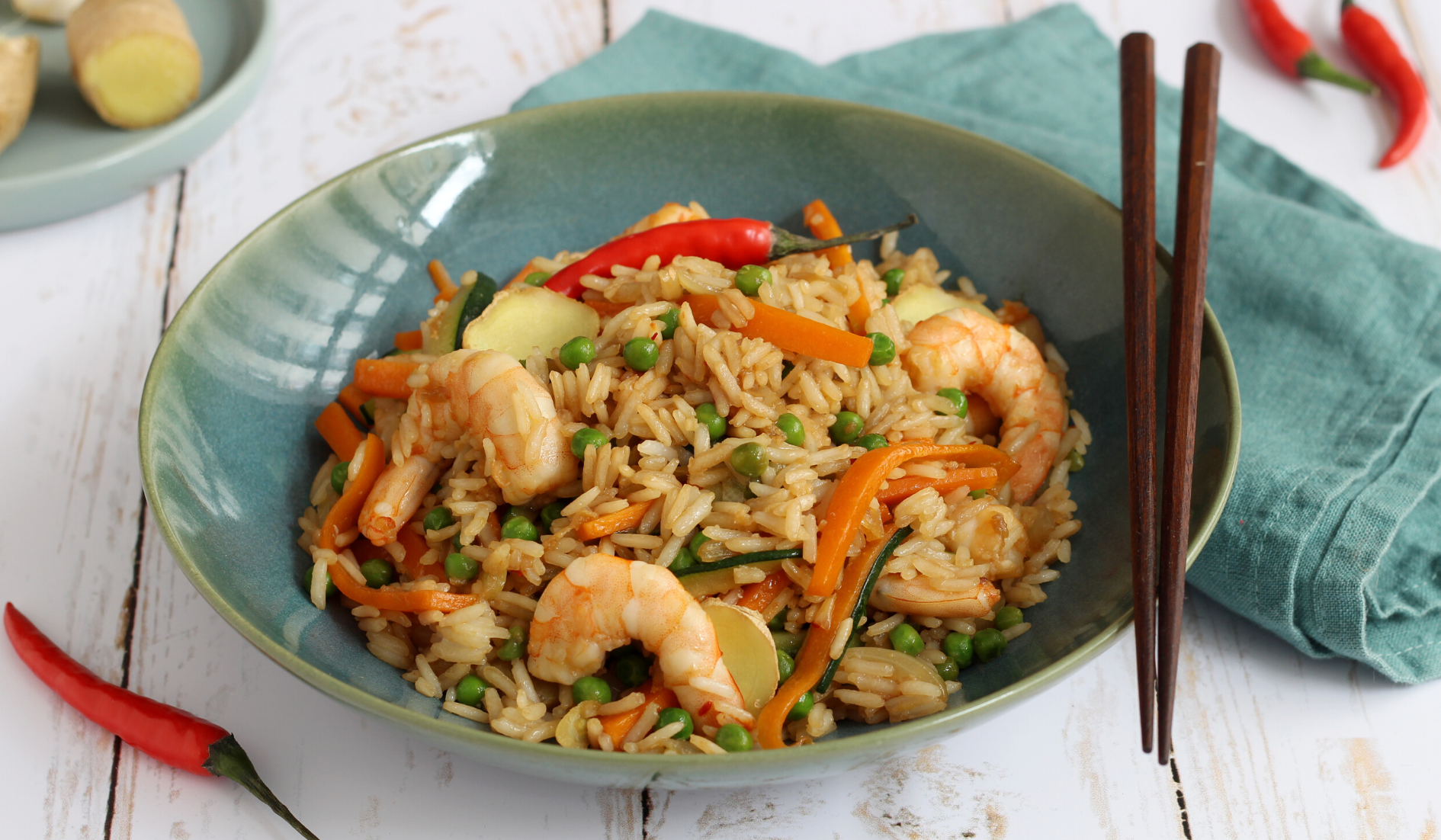 Riz thai aux crevettes et petits légumes